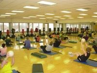 Fitness class on yoga mats