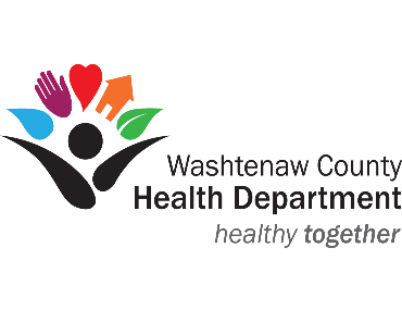 Washtenaw County Health Department logo and healthy together tagline