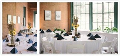 Collage of tables with white tableclothes and blue napkins