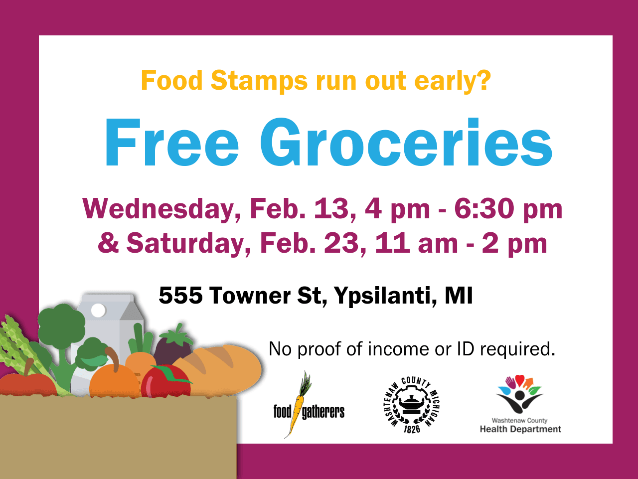 Free groceries announcement