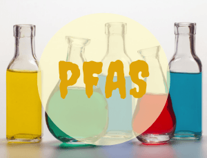 PFAS text over beakers filled with colorful liquids