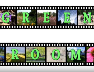 The_Green_Room_type across film strips with colorful photos in frames