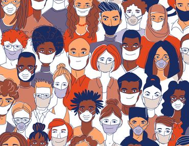 Illustration of diverse crowd wearing N95 masks to protect from covid