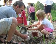 Man crouches with young girl planting in garden