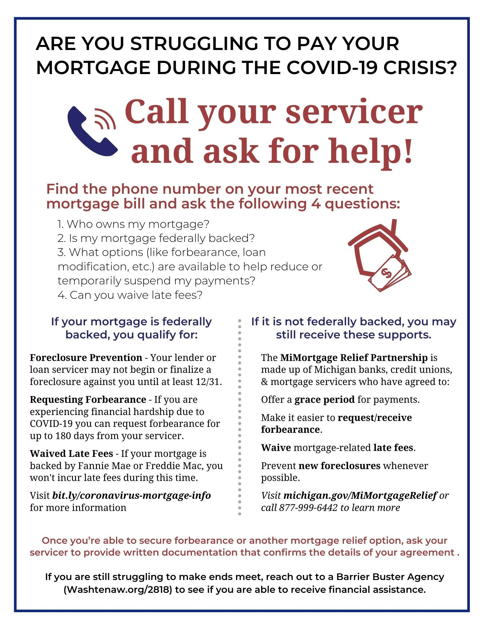 Flyer including information about mortgage protections and resources